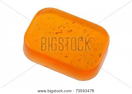 A bar of Glycerin Bar Soap with gold flakes, isolated on white