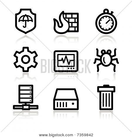 Black contour internet security web icons V2