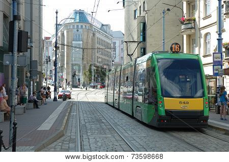 Tram Tracks On Podgorna Street In Poznan, Poland