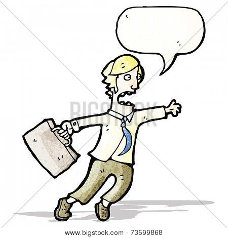 cartoon rushing businessman