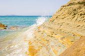 picture of sidari  - View at the sandy ridge on Logas beach at Corfu island in Greece - JPG