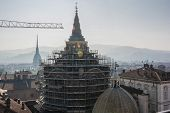 stock photo of turin  - Work in progress in Turin, view from above