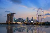 image of singapore night  - night scene of Singapore city skyline at Marina Bay - JPG