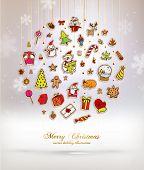 stock photo of xmas tree  - Christmas Set of Icons - JPG