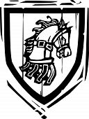 stock photo of arthurian  - Woodcut style Heraldic Shield with a Horse - JPG