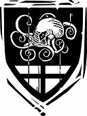 picture of arthurian  - Woodcut style Heraldic Shield with a Kraken or octopus - JPG