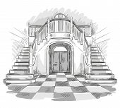 stock photo of interior sketch  - spacious hall and staircase drawing - JPG