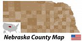picture of nebraska  - A large and detailed map of the State of Nebraska with all counties and main cities - JPG