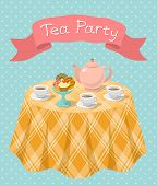picture of tea party  - Vertical flat colorful illustration of a tea party with a kettle - JPG