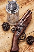 picture of muskets  - set foto old musket fire on wooden background - JPG
