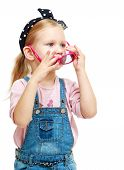 foto of montessori school  - Little girl trying on glasses - JPG