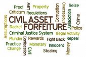 stock photo of plunder  - Civil Asset Forfeiture word cloud on white background - JPG