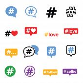 picture of hashtag  - Vector icons set of hashtag isolated on white - JPG