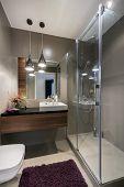 pic of bathroom sink  - Modern luxury bathroom with shower in european style  - JPG