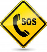 picture of sos  - illustration of sos phone yellow sign on white background - JPG