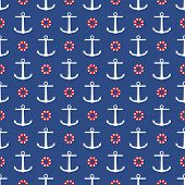pic of navy anchor  - Vector seamless navy anchor blue pattern design - JPG