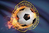stock photo of nebraska  - Soccer ball with flag on background series  - JPG
