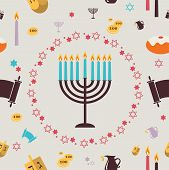 picture of hanukkah  - pattern with Hanukkah symbols - JPG