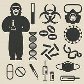picture of epidemic  - epidemic protection and medical icons set  - JPG
