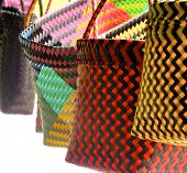 pic of aborigines  - Colorful bags closeup in traditional aboriginal sewing - JPG