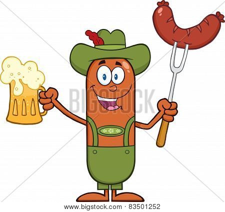 German Oktoberfest Sausage Cartoon Character Holding A Beer And Weenie On A Fork