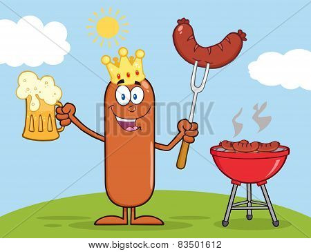 Happy King Sausage Character Holding A Beer And Weenie Next To BBQ