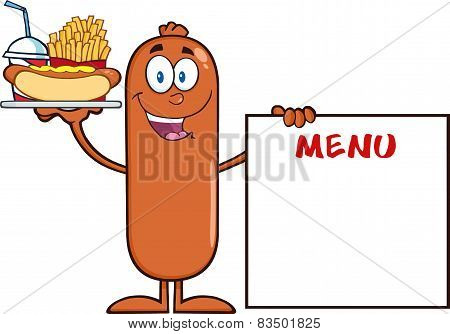 Sausage Cartoon Character Carrying A Hot Dog, French Fries And Cola Next To Menu Board