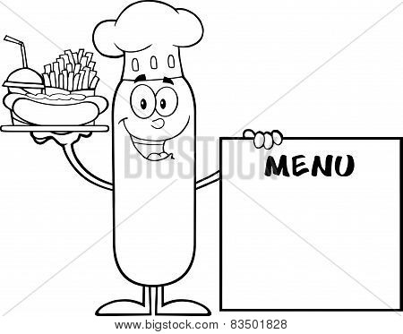 Black And White Chef Sausage Carrying A Hot Dog, French Fries And Cola Next To Menu Board