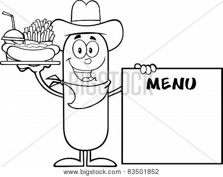 Black And White Cowboy Sausage Carrying A Hot Dog, French Fries And Cola Next To Menu Board