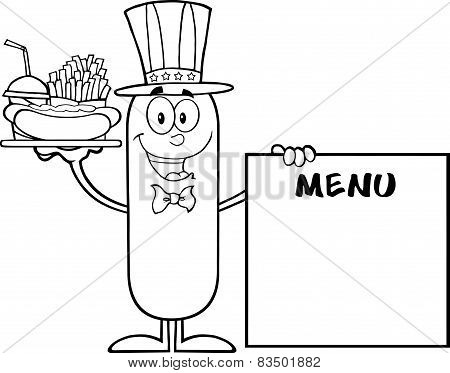 Black And White Patriotic Sausage Carrying A Hot Dog, French Fries And Cola Next To Menu Board