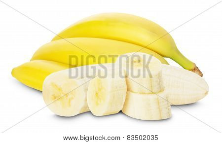 Bananas With Banana Slices On The White Background