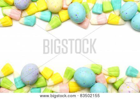 Easter candy frame over white
