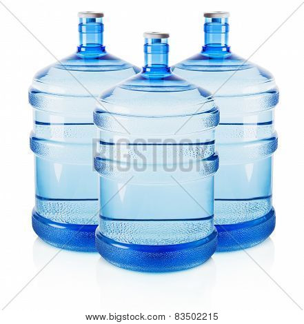 Three Big Bottles Of Water Isolated On The White Background