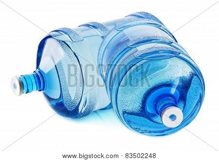 Two Big Bottles Of Water Isolated On The White Background