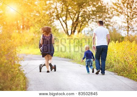 Family enjoying life together outside