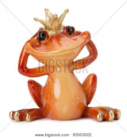 Frog Sculpture Isolated On The White Background