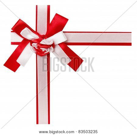 Red Ribbon With A Bow Isolated On The White Background