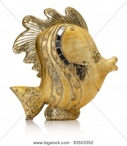 Golden Fish Sculpture Isolated On The White Background