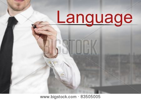 Businessman Writing Language In The Air