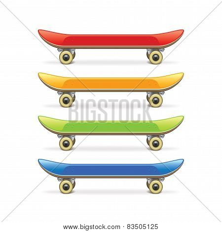 Skateboard Set Isolated On White Vector