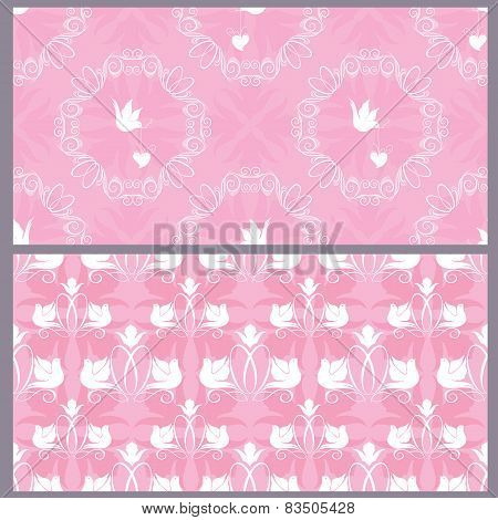 Set Of Wedding Seamless Pattern - Floral Ornament With Wedding Rings And Doves In Pink Colors.