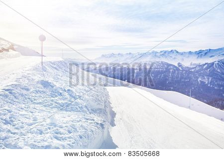 Snowy landscape of beautiful Caucasus mountains