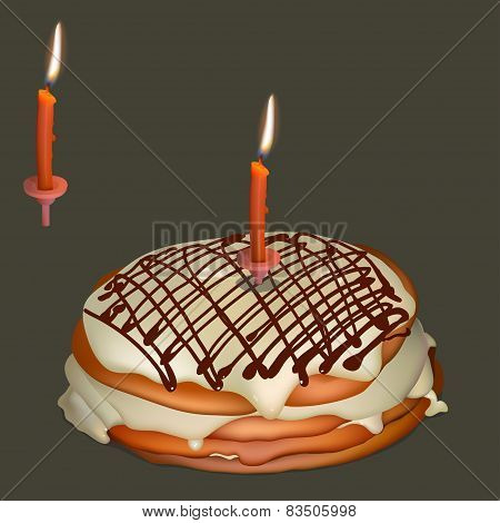 Sweet Cake With Butter Cream And Burning Candle