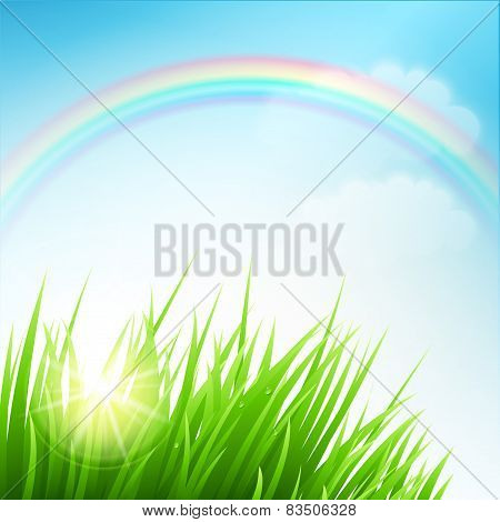 Clean spring amazing scenery. Vector illustration