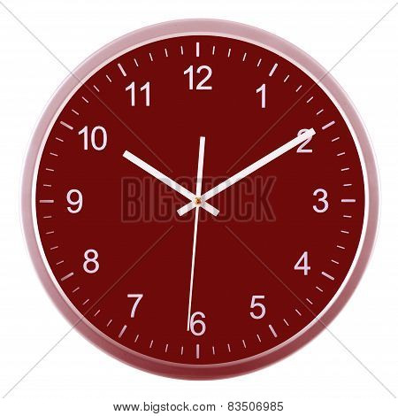 Wall Clock Isolated On White. Ten Past Ten.
