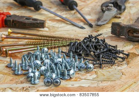Construction tools: pliers, hammer, shears, screwdriver, ommerce and screws