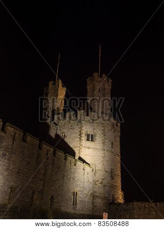 View on Caernarfon Castle at night