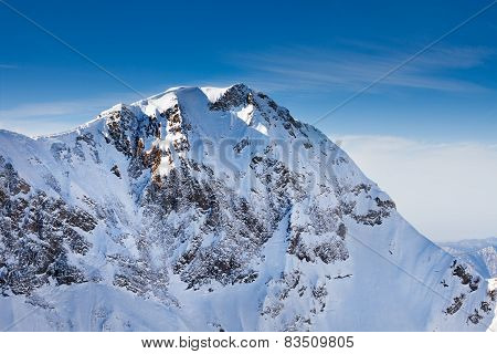 Magnificent Caucasus mountains peak view
