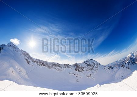 Sunny bright winter landscape of Caucasus, Sochi