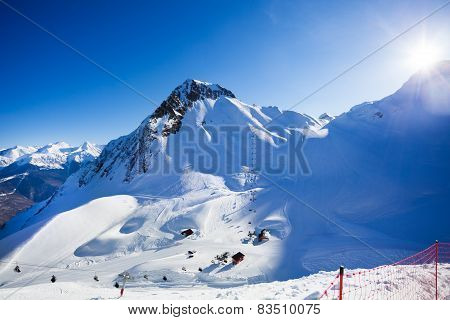 Sunny winter landscape of Caucasus mountains